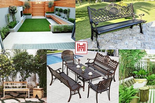 Cách thiết kế sân vườn với băng ghế dài cực chill
