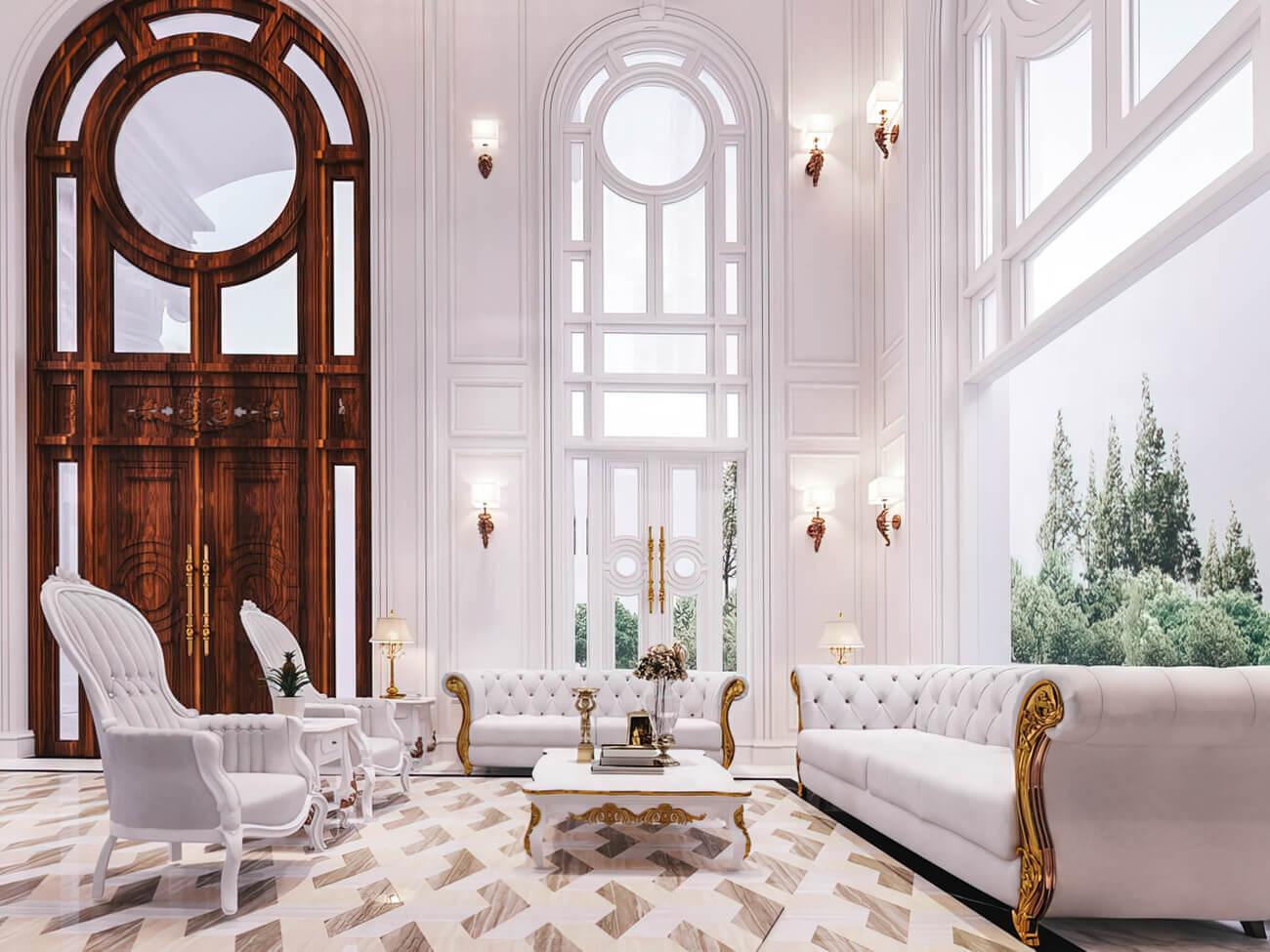 Mẫu thiết kế nội thất 150m2 kiểu Pháp