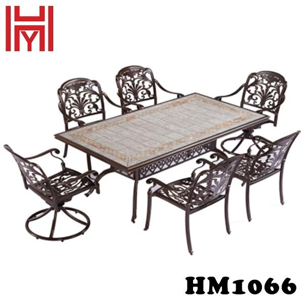 BÀN SÂN VƯỜN BẠCH NGỌC VÂN GỖ HM1066